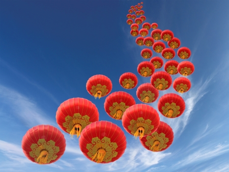 chinese lanterns: Chinese red paper lanterns and sky as background Stock Photo