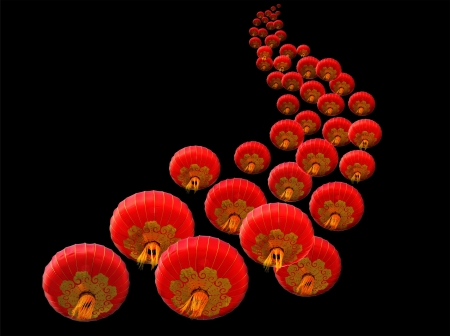 Chinese red paper lanterns on a black background Stock Photo