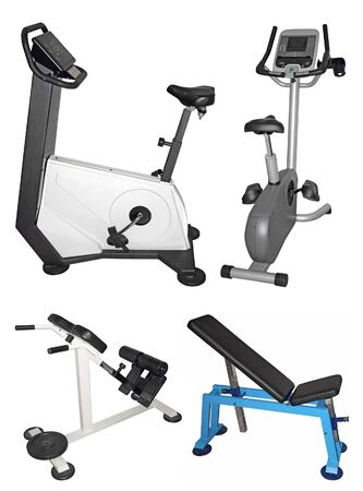 hometrainer: Stationary bike and bench for exercising isolated on white background