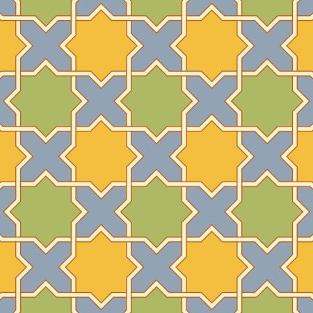 여러 가지 빛깔의 아랍어 비잔틴 원활한 패턴 벡터 일러스트 레이 션