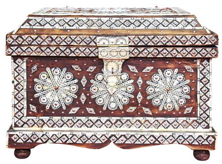 jewelry design: Traditional handmade Moroccan chest isolated on white background