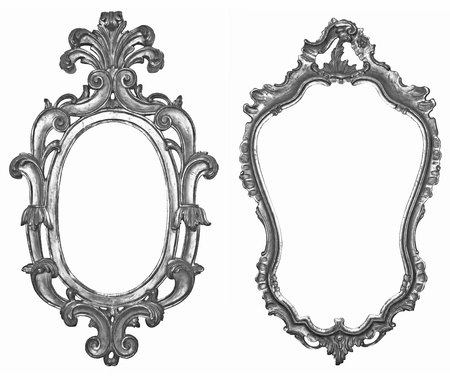 Old silver wooden frames for mirrors and tapestries photo