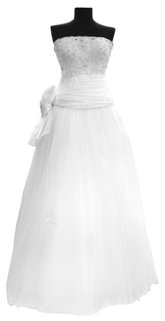 manikin: Modern white wedding dress isolated on white background Stock Photo