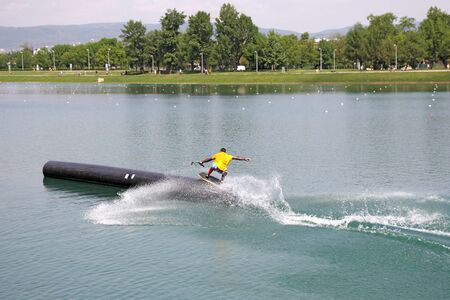 water  skier: Water skiing lake, summer an exciting adventure for young people