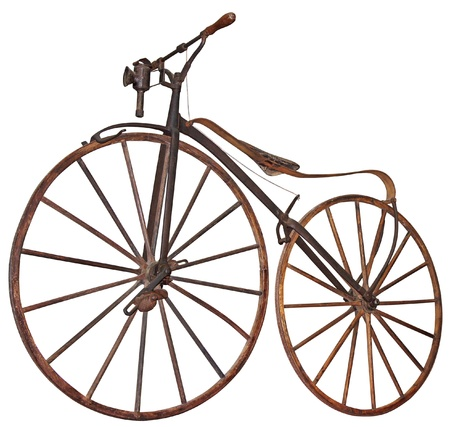 Old wooden bicycle with pedals used 70 years of the 19th century