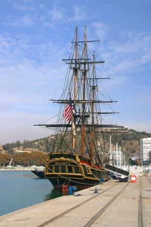 bounty: MALAGA   SPAIN - NOVEMBER 12  The HMS Bounty docked at Malaga, Spain November 12, 2007  The famous ship was built for the 1962 movie