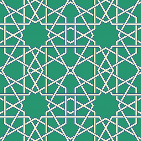 Green Arabic Byzantine seamless pattern vector illustration
