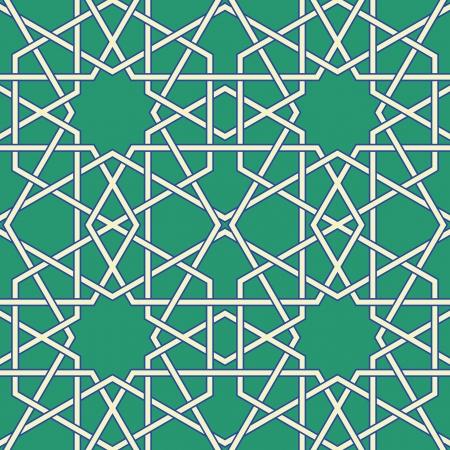 Verde arabo bizantino seamless pattern illustrazione vettoriale Vettoriali