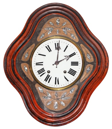 Antique wooden wall clock isolated on white background  photo