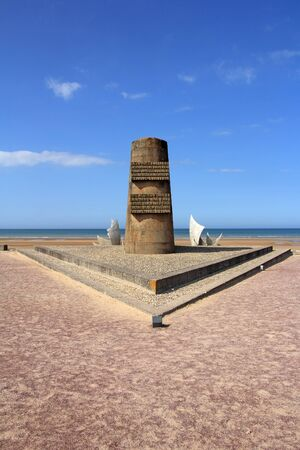 allied: Memorial at Omaha Beach - place of landing  of allied forces during the Normandy D-Day invasion - June 6, 1944
