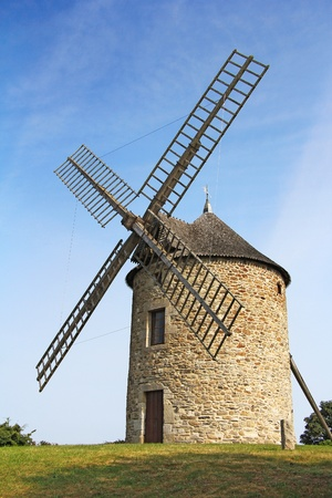 airstream: Old traditional windmill in Normandy, France Stock Photo