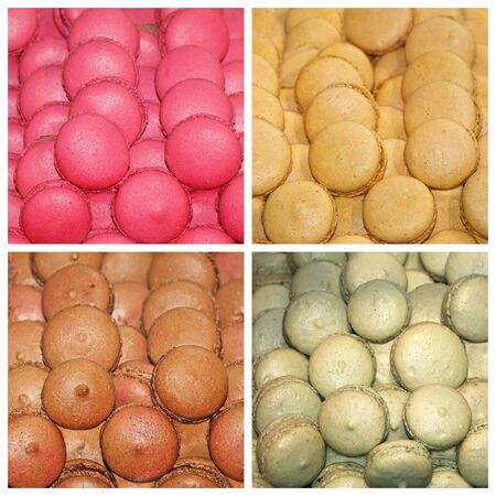 Assorted colorful macaroons, famous and traditional French cakes photo