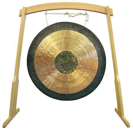 Traditional oriental gong isolated on white background photo