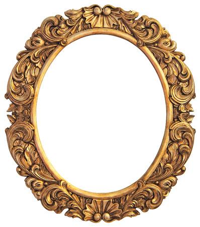 Cadre doré antique isolé Banque d'images