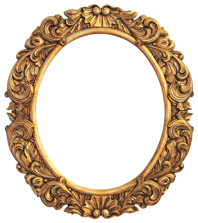 ovalo: Marco antiguo dorado aislado