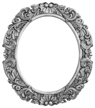 mirror image: Antique silver plated frame Isolated  Stock Photo