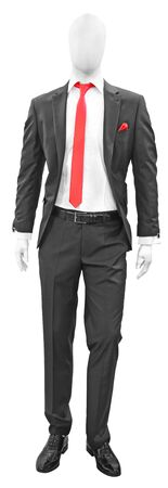 Elegant black man suit with red tie, isolated on a white background photo