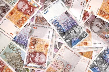 Croatian Kuna banknotes isolated on white background