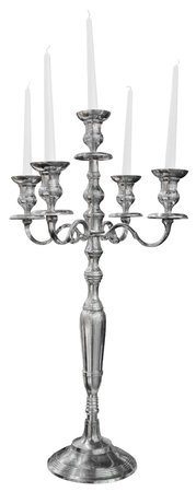 Old silver candlestick isolated on white background Stock Photo - 23907411
