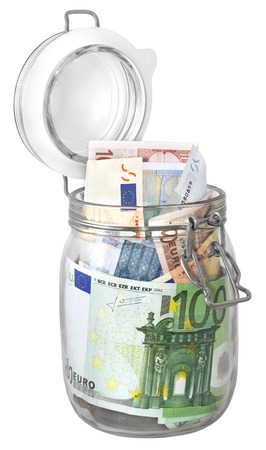 euro banknote: Euro banknotes in jar as preserves isolated on white background