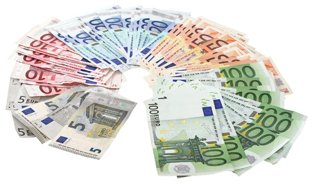 A bundle of Euro banknotes isolated on a white background