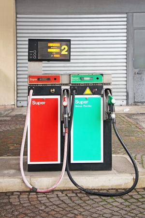 benzene: Old Gasoline pump on a petrol station