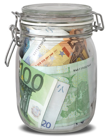 Euro banknotes in jar as preserves isolated on white background photo