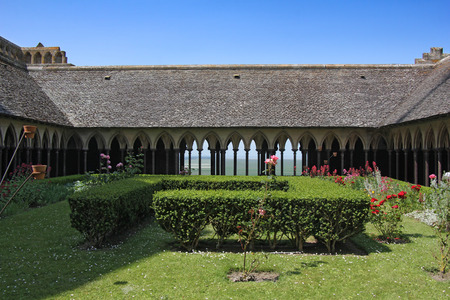 The monastery cloister in the abbey of Mont Saint Michel  Normandy, France photo