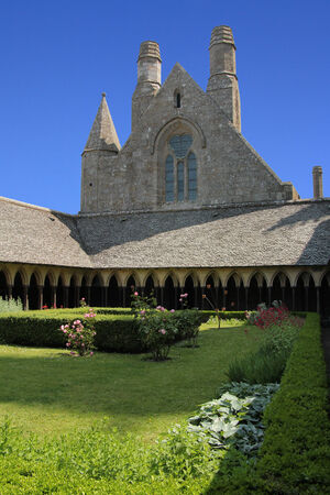 mount saint michael: The monastery garden in the abbey of Mont Saint Michel  Normandy, France