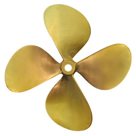 nautical vessels: Four-bladed boat propeller, isolated over white background Stock Photo