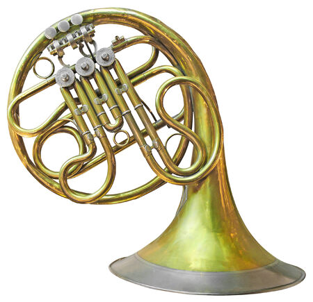 french horn: Old French Horn isolated on white with clipping path