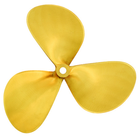 Three-bladed boat propeller, isolated over white background