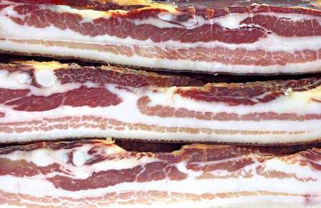 Three Dried Pork Bacon Stacked
