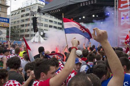 ZAGREB, CROATIA - JUNE 14  Croatian football fans on the main square, watching EURO 2012 match Italy vs  Croatia on June 14, 2012 in Zagreb, Croatia