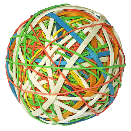 Colorful rubber band ball isolated photo