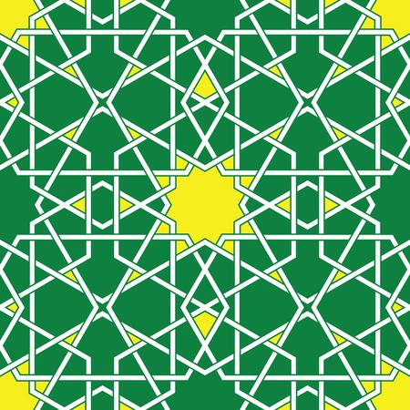 Green Arabic Byzantine seamless pattern Vector
