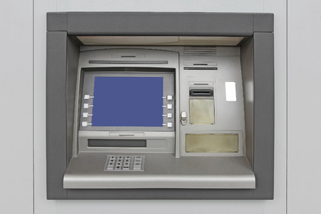 automatic teller machine: Automatic Teller Machine with Blank Screen in the wall Stock Photo