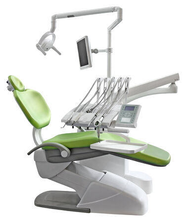 cut out device: Green Dental Chair Isolated with Clipping Path  Stock Photo