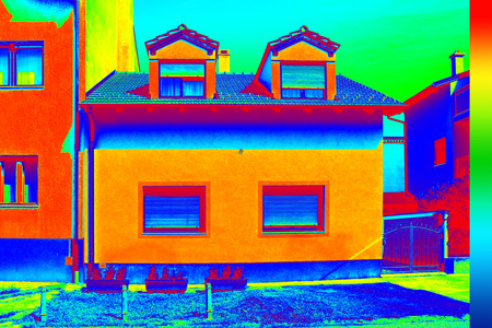 heat radiation: Infrared thermovision image showing lack of thermal insulation on House