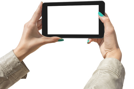 Young Girls Photographing with tablet, Isolated with Clipping Path on white background photo