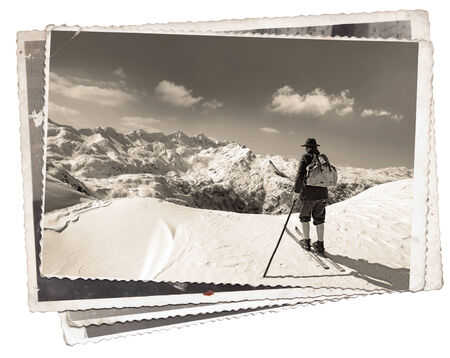 Vintage photos with skier with traditional old wooden skis photo