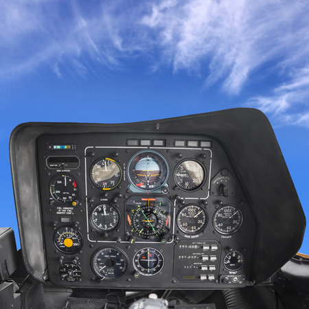 Helicopter Cockpit, instrument and control panel photo