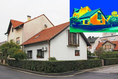 집에 단열 적외선 thermovision 이미지를 보여주는 부족