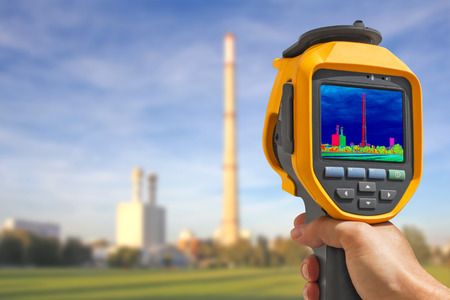 Record heat emission at the Chimney of energy station with infrared thermal cameras photo