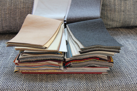 Samples of color of fabric for upholstery the furniture