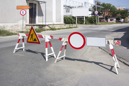 road block: Road works sign for construction works in street Stock Photo