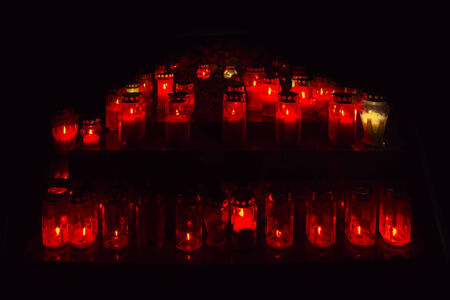 all saints  day: A lot of lighted candles on All Saints Day, on a cemetery Mirogoj in Zagreb, Croatia Stock Photo