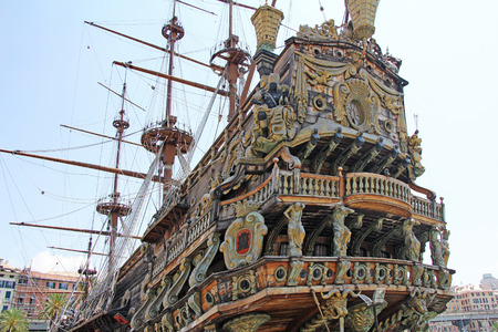 Stern ship Galeone Neptune in the old port of Genoa, Italy Editorial