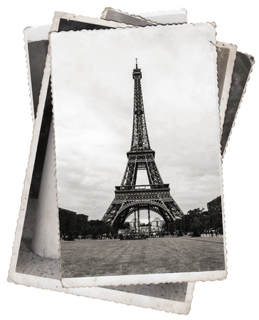 Vintage photos Eiffel Tower, famous symbol of Paris Stockfoto