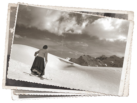 Vintage photos women on old wooden skis Stockfoto